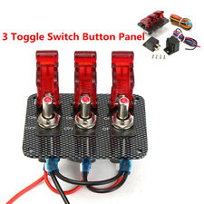 12V Car Engine Start Ignition 3 Toggle Switch Panel Carbon Fiber W/Red LED Light