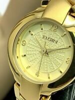 Elgin Women's Gold Tone Stainless Steel Champagne Dial Petite 23mm Watch EG386