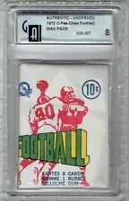 1972 CFL UNOPENED  WAX PACK O-PEE-CHEE  Graded 8  By Global Authentication