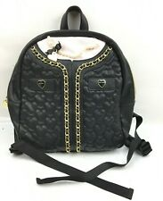 Betsey Johnson Black Heart Backpack w/Faux Pearl Detailing