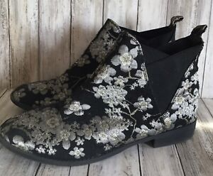 Ladies Size 8 Black & Silver Metallic Embroidery Fabric Chelsea Ankle Boots VGC
