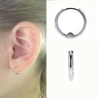 14k White Gold Small Baby Huggies Huggy Hoops Hoop Earrings 1.5mm x 9mm