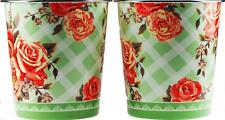 Set Of 2 Large Pink Floral Rose Chintz Waste Paper Bins