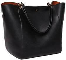 SQLP Women Ladies Genuine Leather Tote Bag Handbag Shoulder Bag Black