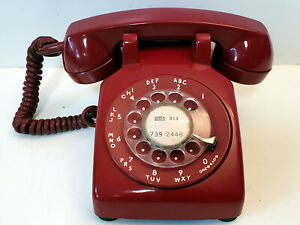 Excellent Collectible Vintage Hot RED Rotary Dial Phone Western Electric 500