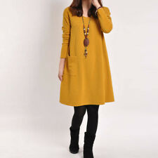 Women Dresses With Pocket Long Sleeve Loose Casual Autumn Winter Dress Plus Size