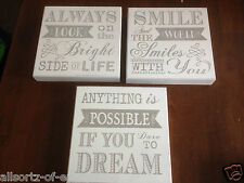 3 x Wooden White Sign Dream Smile Look on Bright side Life Shabby Chic