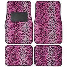 Pink Leopard Print Car Truck SUV Front Rear Premium Carpet Floor Mats 4pc Set