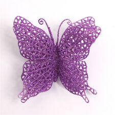 "PURPLE GLITTERED BUTTERFLY ORNAMENT 6"" CHRISTMAS WEDDING SPRING"