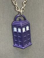 """BBC TV DOCTOR DR. WHO TARDIS BLUE CALL BOX PHONE BOOTH PENDANT NECKLACE 20"""""""