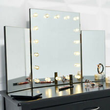 Hollywood Triple Folding Makeup Mirror With LED 18 Lights For Dressing Table