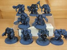 10 PLASTIC WARHAMMER SPACE WOLVES WOLF GUARD TERMINATORS BASE PAINTED (1550)