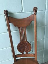 Antique Victorian Gothic Griffin Carved English Tiger Oak Hall / Spinning Chair