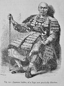 Japan A JAPANESE SOLDIER Original Victorian Print by Figuier c1893