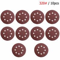 10pcs Sandpapers Set 5Inch 8Hole Round Grit 320 Hook Loop Sanding Discs  #ur7