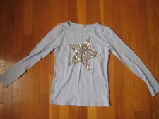 J Crew Crewcuts blue silver sequin STAR SHIRT sparkle girl super long sleeve 12