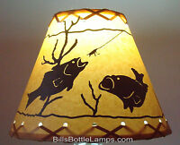 """FISH Table Light Cabin Cottage LAMP SHADE Clip-On Bulb Style 9"""" inch Laced Cone"""