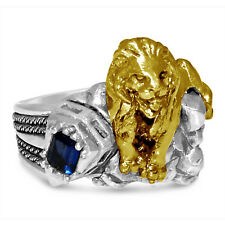 Karat Gold lion sterling silver ring Artisan made New York 42 street 10
