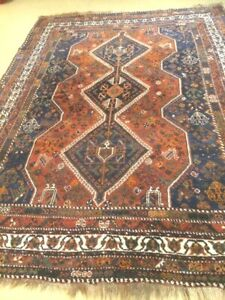 antico-swiss Beautiful Antique indoGHASHGHAII runner 7`6 x 10`3 ft