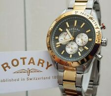 ROTARY Mens Watch Chronograph Tachymeter 2 tone bracelet RRP £240 Boxed VGC