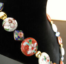 Red, White, and Blue Real Cloisonné Hand Crafted Necklace