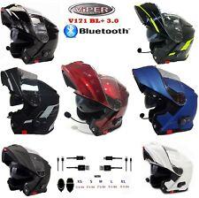 VIPER V171 Motorradhelm mit Bluetooth Klapphelm Flip-Up Tourenhelme, Alle Farben