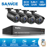 SANNCE 8CH 5in1 DVR 1080P 3000TVL In/Outdoor Night Vision Security Camera System