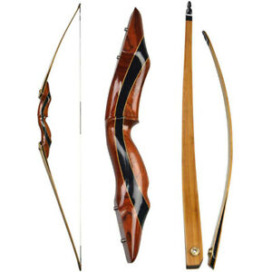 """62"""" Longbow 25-55lbs Traditional Recurve Bow Takedown Wooden Archery Hunting"""