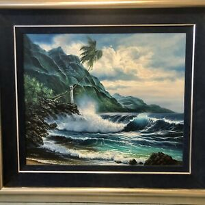 "Arozi Original Oil Painting ""Inspired Dawn"" Hawaii Ocean Waves Moonlight Beach"