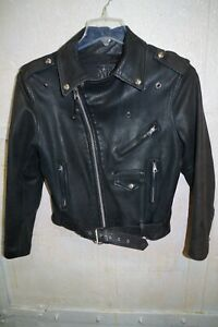 vintage BRANDED by ORCHARD MOTORCYCLE KIDS 14 Sheepskin Leather Jacket Zip Coat