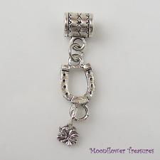 Tibetan Silver Horseshoe with Tiny Flower Dangle Charm fit European Bracelet