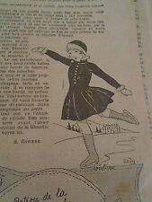 """PATRON ORIGINAL POUR LA POUPEE """" BLEUETTE COSTUME DE PATINAGE JANVIER 1931"""