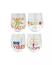 Celebrate Summer Together Palm & Pineapple 4 Pc Stemless Wine Glass Cup Set