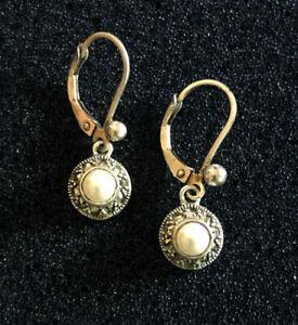 """Sterling Silver Earrings Judith Jack Marcasite Faux Pearl Drop 1"""" 2.6g 925 #1606"""