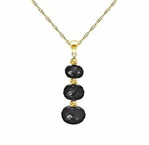 Black Spinel 14k Yellow Gold Pendant Necklace and Gold Beads