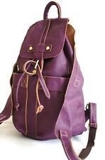 Damen luxus Leder Rucksack Echt Antik Leder in Used Look Handtasche lila Neu