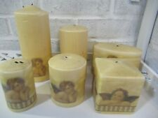 Set of 6 lovely cream & gold different shaped pillar candles, decorative candles