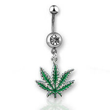 Hemp Shack - Marijuana Pot Leaf - Navel Ring w/ CZ Stone (Belly / Body Jewelry)