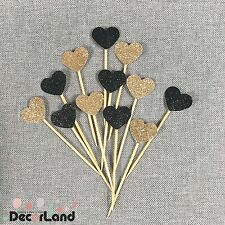 12Pcs Glitter Gold Black Heart Cupcake Toppers Food Picks Party Decororation