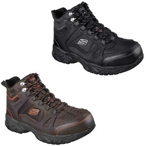 Skechers Work Mens Boots Safety Steel Toe Cap Rugged Leather Memory Foam Shoes