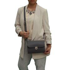 Grey Leather Handmade London Satchel Cross Body Handbag Clasp Closure and Strap
