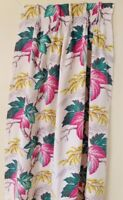 "Vintage Barkcloth Pleated Curtains 67"" Long Large Pink Green Leaf Gold Flowers"