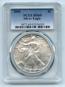 2005 $1 American Silver Eagle 1oz Dollar PCGS MS69