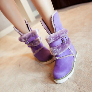 Women Winter Warm Velvet Snow Ankle Boot Buckle Fur Lined Low Heels Casual Shoes