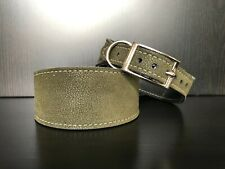 LARGE Dog Collar LEATHER LINED Greyhound Whippet ARMY GREEN FABRIC