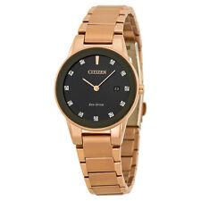 Citizen Axiom Eco-Drive Black Diamond Dial Rose Gold-tone Ladies Watch
