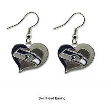 NWT Aminco NFL Seattle Seahawks Swirl Heart Shaped Earring Dangle Charm