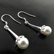 Pearl Earrings Real 925 Sterling Silver S/F Ladies Long Drop Hook Antique Design
