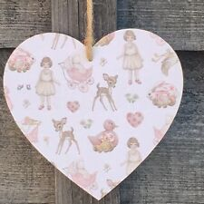Bambi Handmade Wooden Heart Plaque Decoupage Gift Baby Shower Girl Nursery Dec
