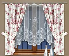 Modern, jacquard set net window curtains with curtain tape WHITE/PINK